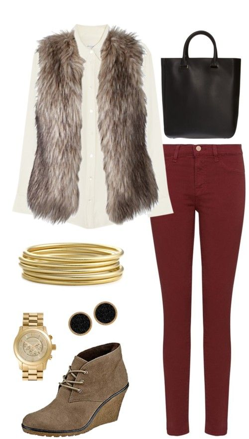 cream shirt faux fur vest gilet structured tote gold bangles wine jeans winter style
