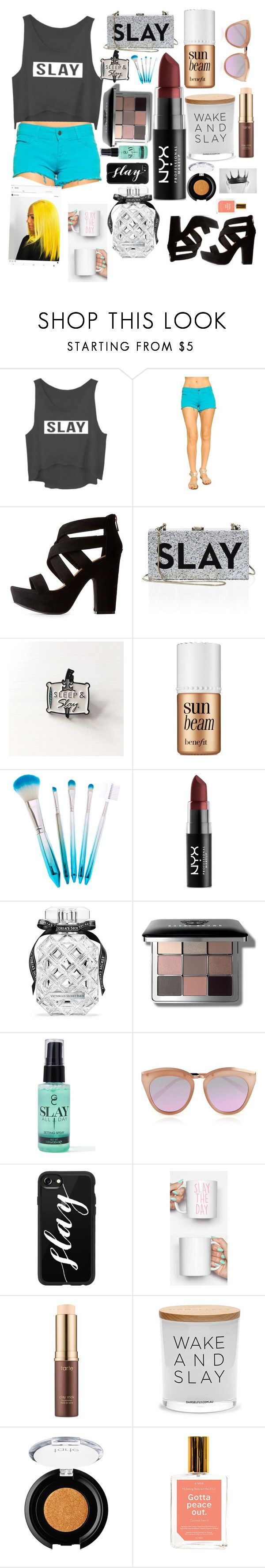 """""""Slay All Day🌴🌴🐟🐟🍼🍼"""" by olivia-louise3 ❤ liked on Polyvore featuring beauty, Siwy, Bamboo, Milly, Benefit, NYX, Victoria's Secret, Bobbi Brown Cosmetics, Gerard Cosmetics and Le Specs"""