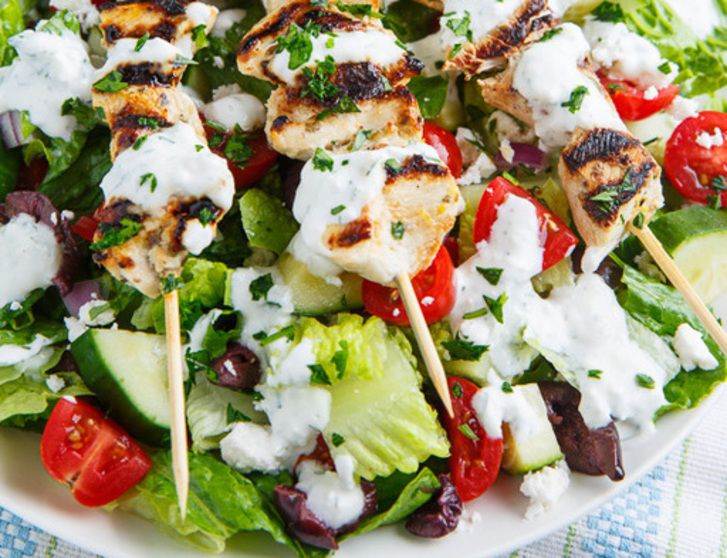 Grilled Chicken Souvlaki Salad with Creamy Feta an