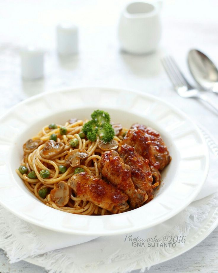 Spaghetti chicken spicy