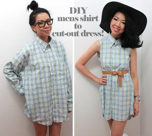 DIY Mens shirt into cut-out dress