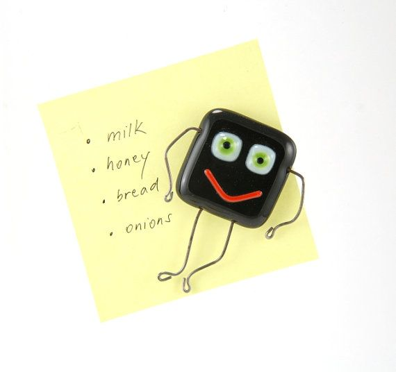 Green eyed black smiley magnet funny stickman fused by PannaKotta, #etsy