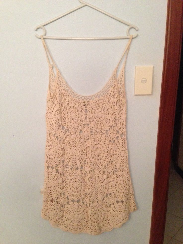 What I Like: lovely crochet pattern, nice material, colour ## What I Dislike: see-through, short, shoulder straps have sticky/plastic on them to keep them in place ## Conclusion: beach cover up, any way to wear it with other underneath??