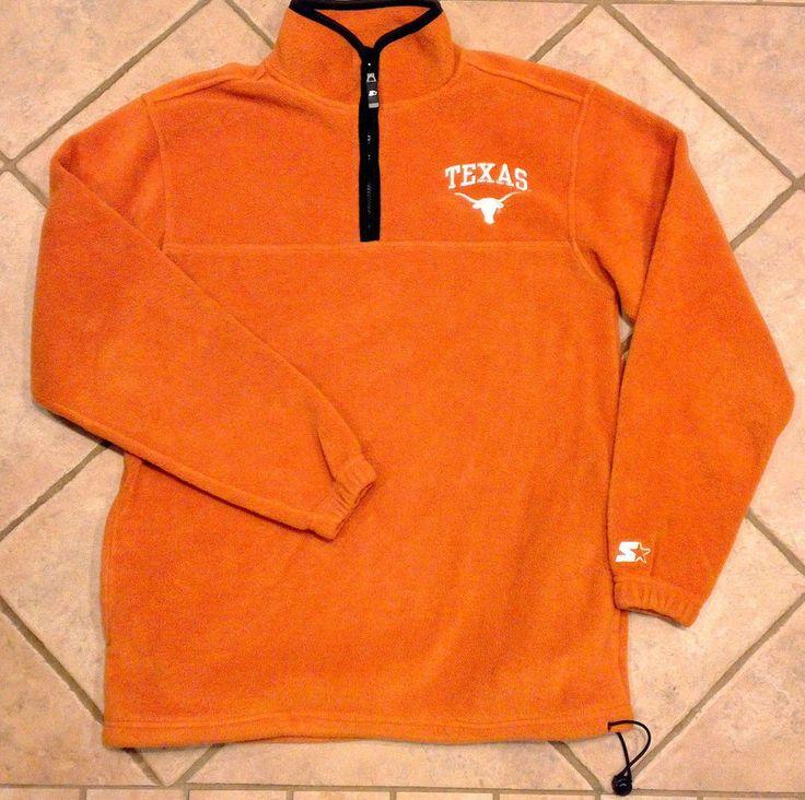 Mens Fleece Univ TEXAS LONGHORNS Football Starter Med/Lrg Orange Pullover NCAA #Starter #TexasLonghorns