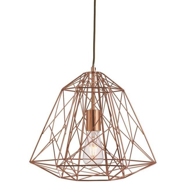 Searchlight Lighting Single Light Copper Geometric Cage Frame Ceiling Pendant