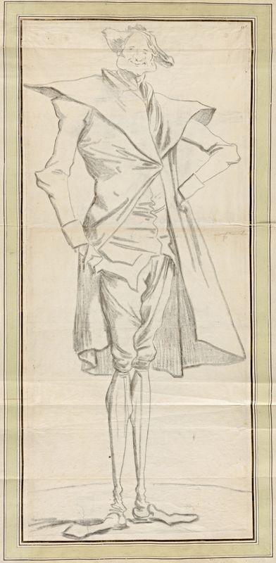 Portrait charge du peintre Berthélemy, une main à la hanche, 1773-1774, Paris musée du Louvre,