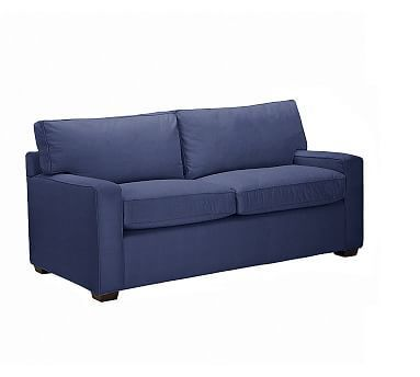 """Cool PB Square Upholstered Love Seat 59"""" Polyester Wrapped Cushions Linen Blend Peacoat Navy Fresh - Unique square sectional sofa Simple"""