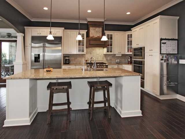 Kitchen- like dark wall color & dark floors w/ white cabinets