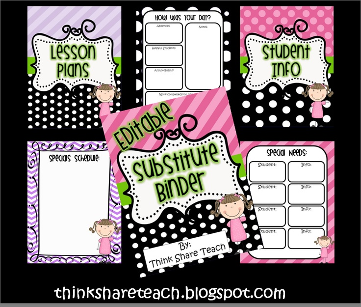 Editable Substitute Binder: Black polka dots with accent colors. FREE  Think * Share * Teach