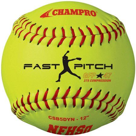 Champro Nfhs 12 inch Fast Pitch Softballs, 1 Dozen, Yellow
