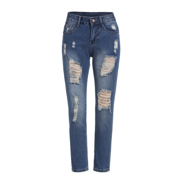 SheIn(sheinside) Blue Bleached Ripped Denim Pant ($21) ❤ liked on Polyvore featuring jeans, pants, bottoms, jeans/pants, blue, destroyed jeans, torn jeans, distressing jeans, loose fit jeans and ripped jeans