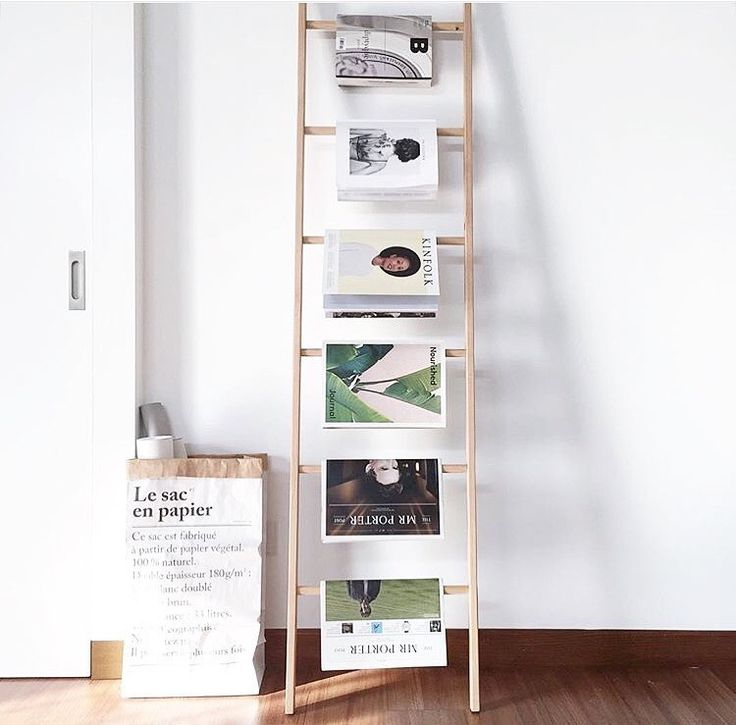 Magazine rack from an old ladder home inspirations for Magazine racks for home