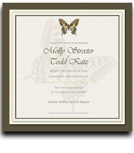 25 Square Wedding Invitations - Butterfly Taupe & Harvest by WeddingPaperMasters.com. $168.75. Now you can have it all! We have created, at incredible prices & outstanding quality, more than 300 gorgeous collections consisting of over 6000 beautiful pieces that are perfectly coordinated together to capture your vision without compromise. No more mixing and matching or having to compromise your look. We can provide you with one piece or an entire collection in a one stop shopp...
