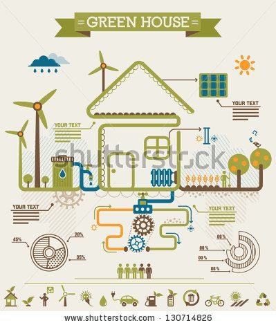 Ecology Info Graphic, Green House. - stock vector