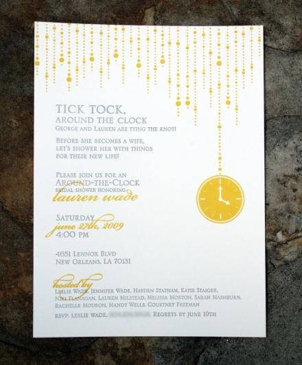 Around The Clock Bridal Shower 2 Color Letterpress Original Illustration