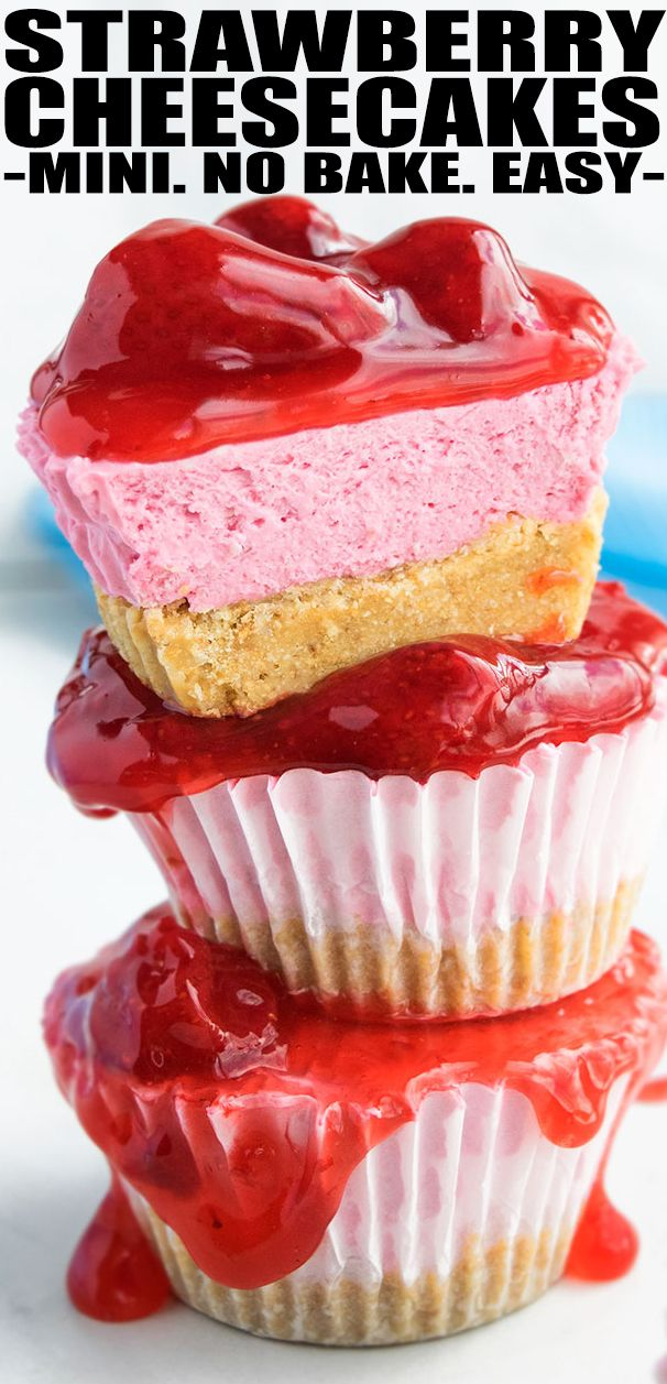 Easy No Bake Strawberry Cheesecake Cupcakes With Graham Cracker