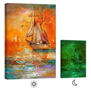 Orange wall art is the perfect type of fall wall art to use  in your home.  In fact fall canvas art is  especially trendy this time of year.   Whether it be an orange wall clock, orange canvas art or even orange  wall hangings you will find something perfect to decorate your home for  #autumn.       Canvas Glow in the Dark Wall Art Framed Print, No Energy Use - changing colors art