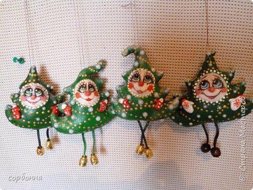 Игрушка Новый год Шитьё новогодние игрушки- грунтованный текстиль снеговички совы зверушки елочки  козочки барашки Ткань фото 10