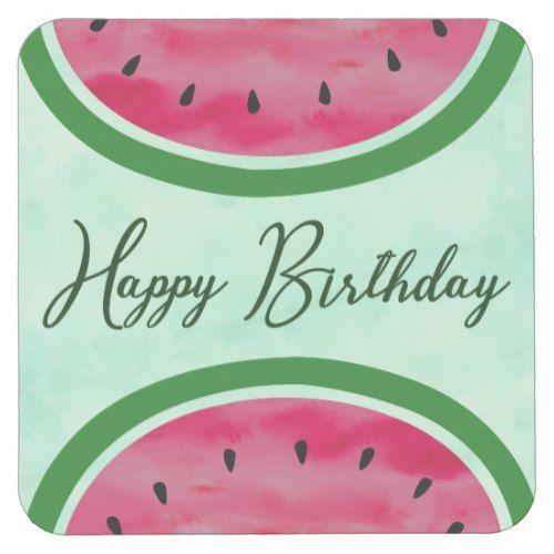 Watercolor Watermelon Birthday Party Celebration Square Paper Coaster