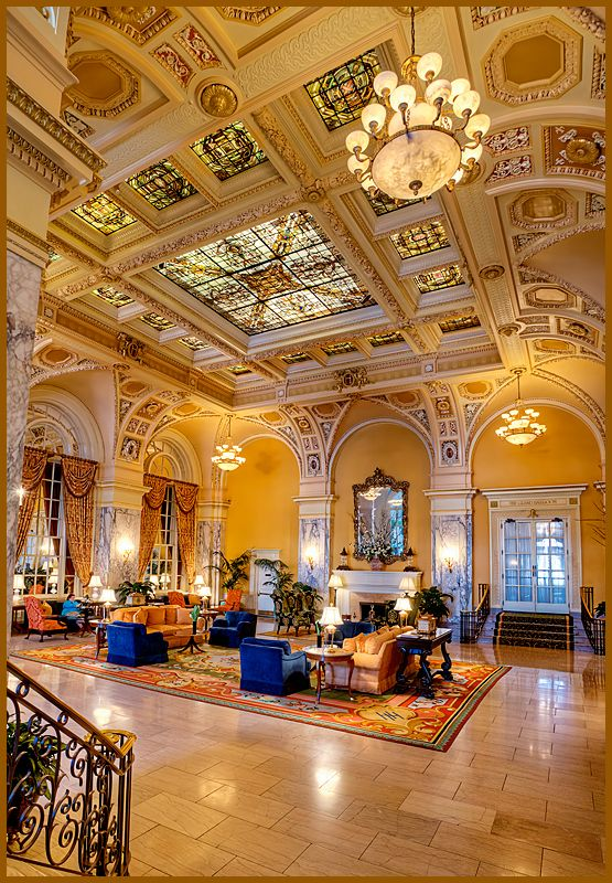 The Hermitage Hotel - Nashville, Tennessee.  I'd love to just see this lobby. #OneOfAKindNashville