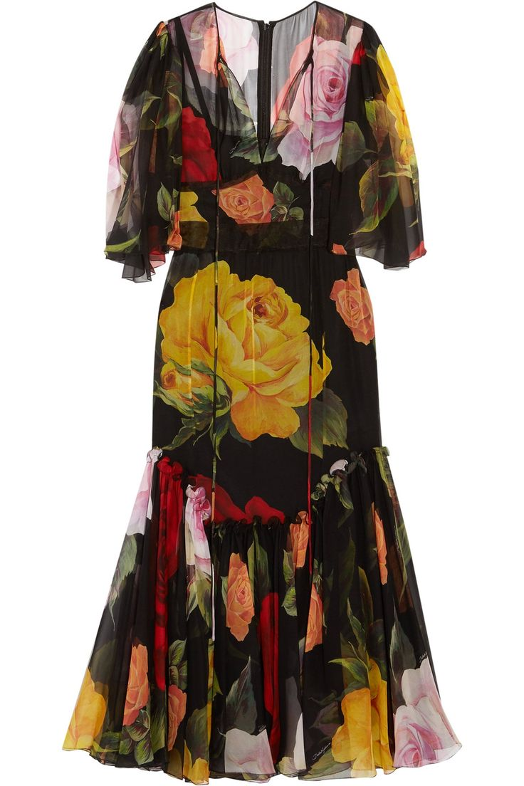 DOLCE & GABBANA Floral-print silk-chiffon midi dress