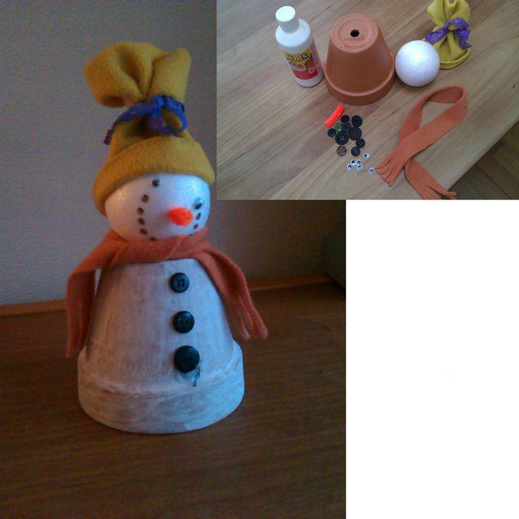 Sneeuwpop gemaakt van bloempot. Leuke activiteit voor kinderfeestje!