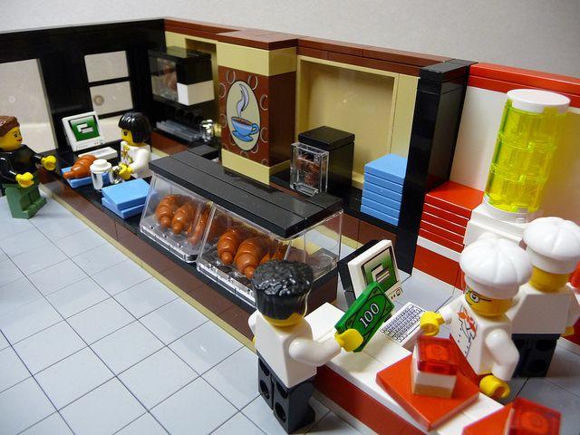 Lego cafe! Lego people buying food! #yummy #cafe