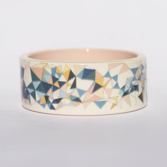 Flying Spikes Printed Porcelain Bangle by Erin Lightfoot