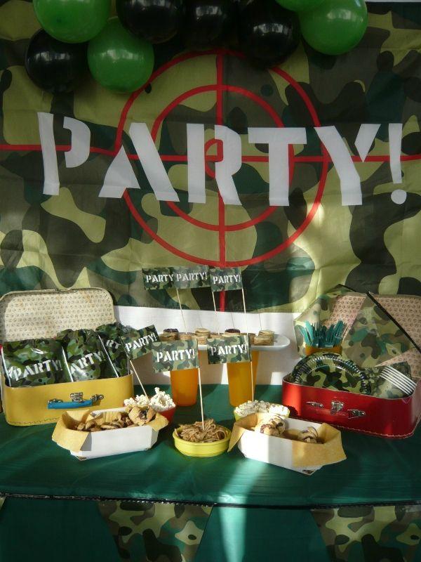 water battle gamer party anniversaire garçon bataille d'eau camouflage articles de fête Vegaooparty buffet (10)