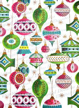 Christmas Ornaments Background Mid-Century by DigitaIDecades