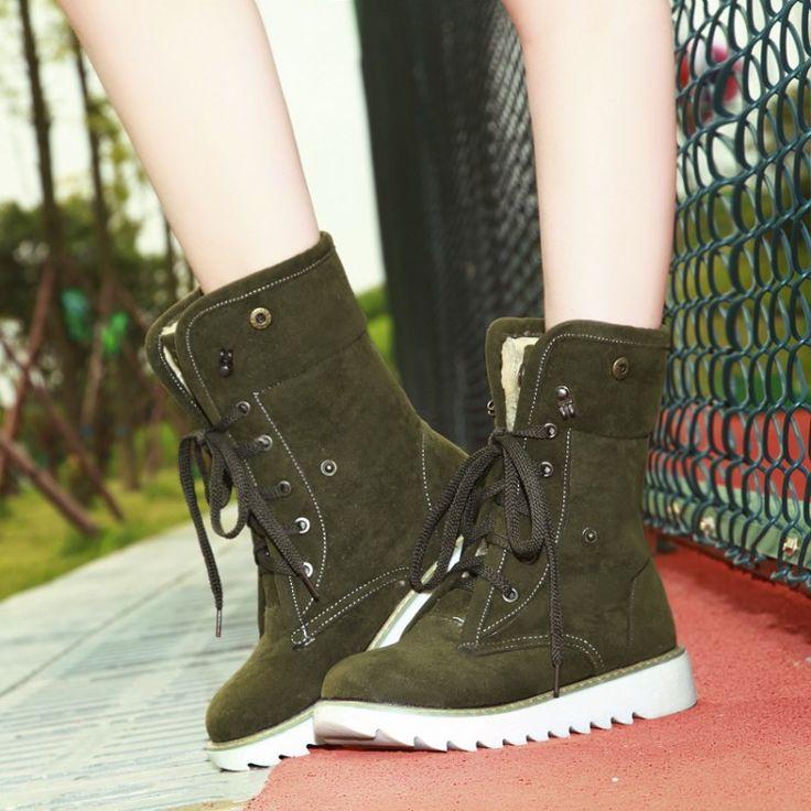 Lace Up Winter Snow Boots Platform Fur Inside Shoes Woman 3289 3289