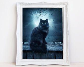 Zwarte kat kunst, zwarte kat foto, zwarte kat print, fantasie kat kunst, kunst van de volle maan, blauwe artwork, zwarte kat decor, kat kunst aan de muur, pluizig kat