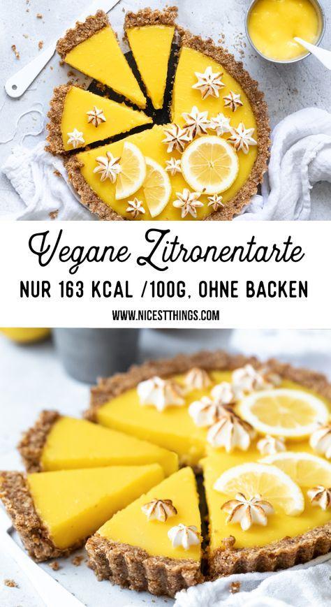 Zitronentarte vegane Zitronentarte Rezept kalorienarme Diät Abnehmen saubere E …   – leichte Torte