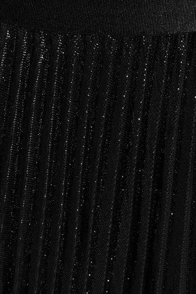 Diane von Furstenberg - Heavyn Pleated Metallic Crepe Skirt - Black - US12