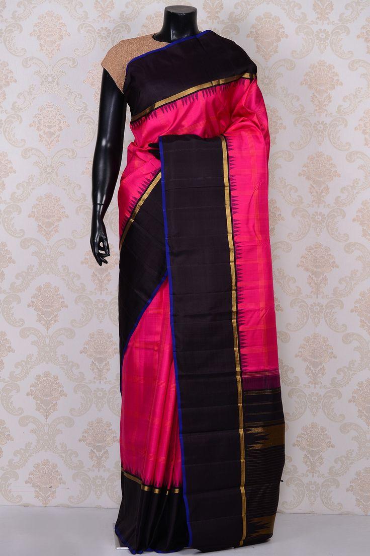 #Pink graceful #kanchipuram silk #saree with black border-SR18622 -#PURE…