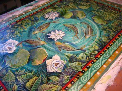 painted pond floor cloth - BE-YOO-TIFUL!!!❦: Floorcloth Painting, Idea, Floorcloth Inspirations, Handpainted Floorcloths, Small Ponds, Canvas Floorcloth, Painted Floors Floorcloths, Pond Floorcloth