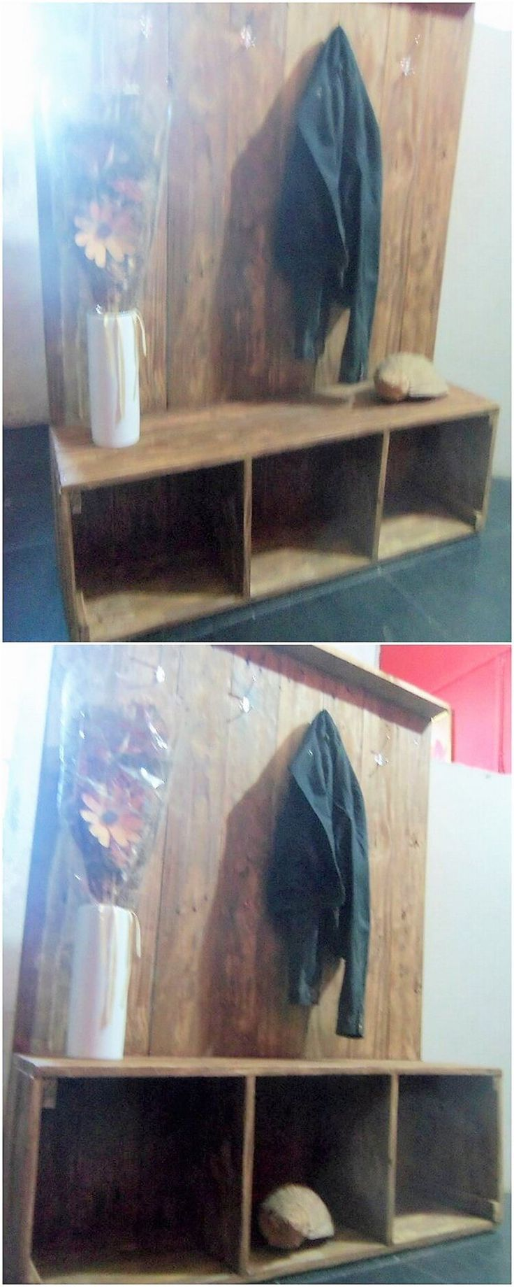 Do you have an unused wood pallet plank in your house? If so, then let's grab this interesting idea of the wood pallet coat rack support where the plank of wood pallet is put over the wall to be used as the coat rack piece.