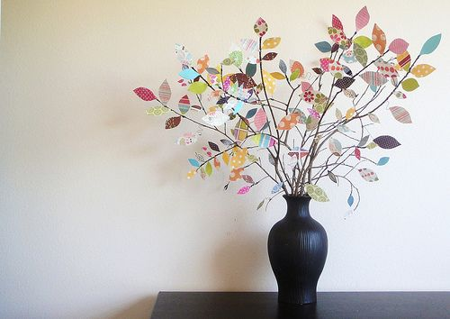 Cute decorating idea with scrap paper: Idea, Scrapbooks, Paper Scrap, Paper Flowers, Trees Branches, Scrapbook Paper, Paper Leaves, Paper Trees, Trees Centerpieces