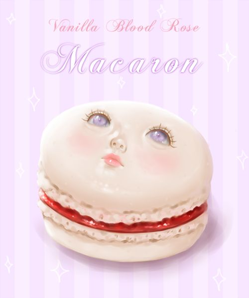 I've been obsessed with macarons recently even though I've never even eaten one. They just look so cute and delicate! Today I ordered a macaron coin purse online. And then I drew this girl macaron face thing! She's a vanilla flavored macaron filled with blood flavored jam and a hint of rose.