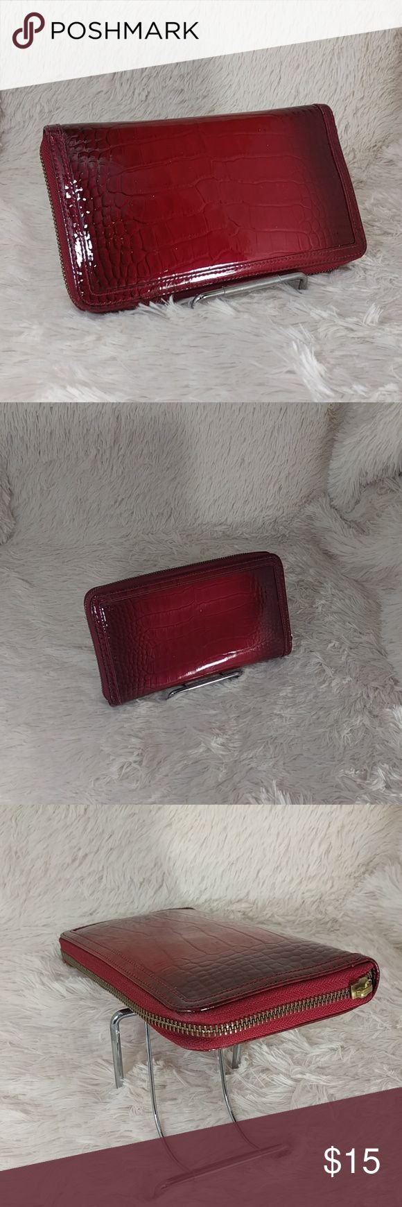 Halogen Faux Croc Check Wallet Clutch Deep red zippered wallet big enough for checkbook, cards, keys and the kitchen sink(well maybe not that).  Item is pre-owned and zipper pull is missing.  I can sell this as is for $15 or I can have the zipper pull repaired for $10 extra (would take a few days).  Happy poshing let me know if you have any questions!!!  Dimensions: 8 L x 4.5 W x 1 d. Halogen Bags Wallets