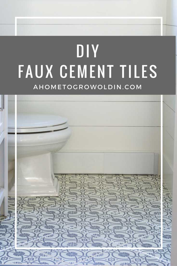 Do+you+love+the+bold+patterns+of+cement+tiles?++Learn+how+to+turn+your+tile+floor+into+beautiful+faux+cement+tiles+that+look+just+like+the+real+thing!++It's+an+easier+DIY+than+you+think!+via+@ahome2growoldin