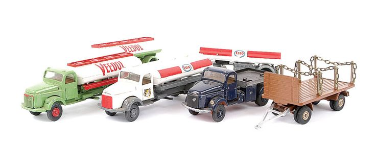 "Vilmer diecast Commercials - (1) ""Esso"" 4-wheeled Tanker and drawbar Trailer, (2) Flatbed Tow Truck - blue, with 4-wheeled Trailer and chains - brown - Good Plus to Excellent lot. Also including a ""Veedol"" Tanker and drawbar Trailer"