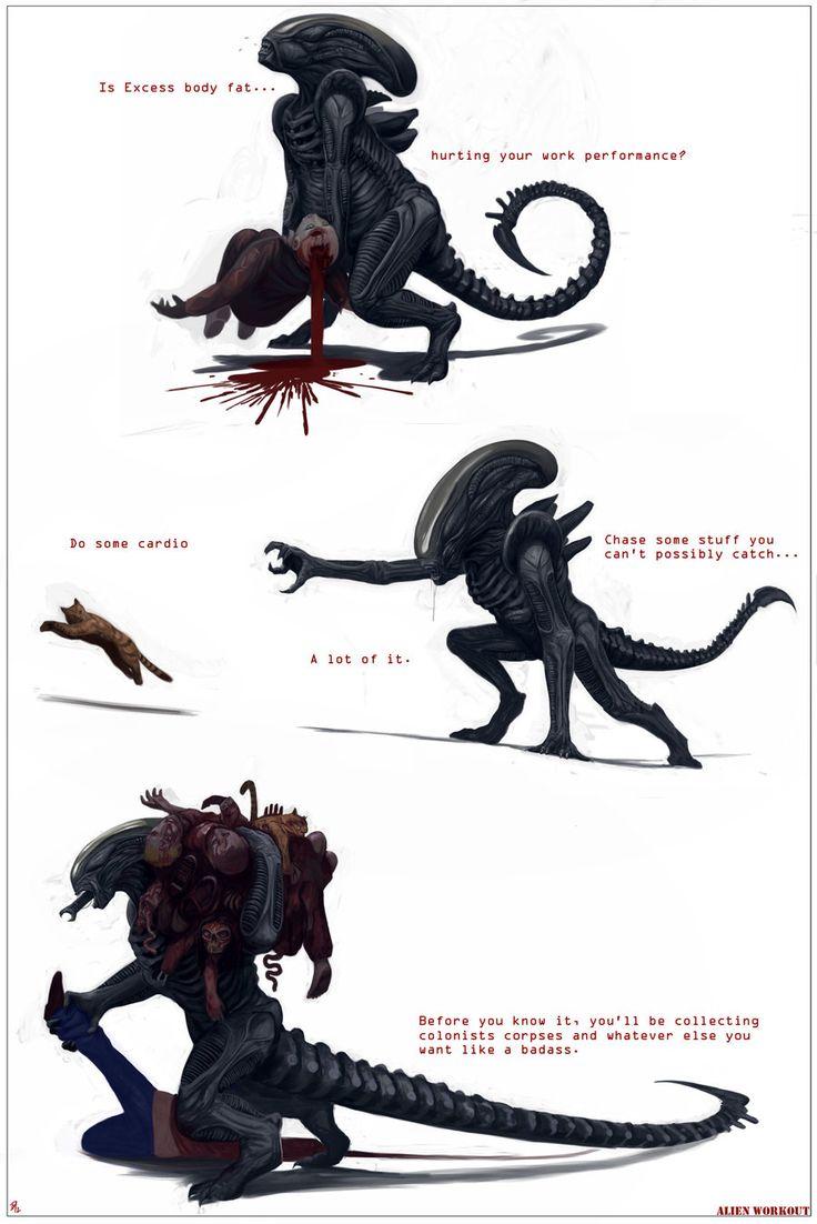 Alien Workout By Davesrightminddeviantartcom  Horror Art In 2019  Alien Vs Predator, Aliens Movie Und Predator Alien-4363