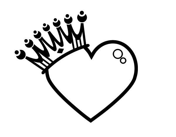 Dibujo De Corazón Coronado Para Colorear Color Pinterest
