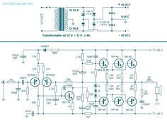 This the circuit diagram of 260 Watt power audio amplifier with power supply circuit capable of delivering up to 260 Watt RMS at 8 Ohms load. The signal level of 1 VPP standard amplitude is input to a differential stage composed of BC556C Transistor.