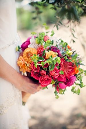 perfectly bright + colorful wedding bouquet // photo by ClaytonAustinLoveStories.com