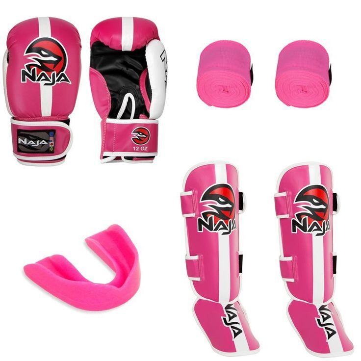 Kit Muay Thai Luva Naja Calssic Rosa + Bucal + Bandagem + Caneleira Naja Classic