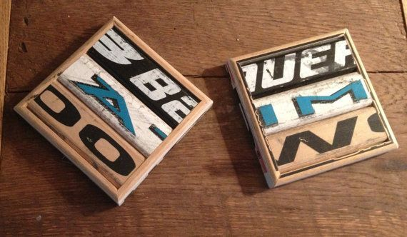 DIY Hockey Stick Coasters out of upcylced hockey sticks. Gift for the man in your life?
