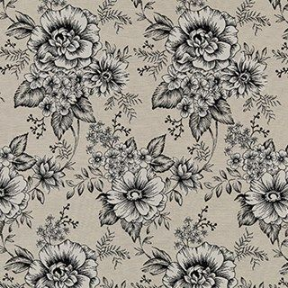 Leyla Jet blind and curtain fabric from Hillary's, a monochrome floral pattern for a black and white print