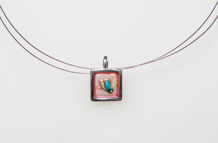 New to Giampouras on Etsy: Blue ButterflySterling Silver Pendant Cloisonne Pendant -  Pink Sunset Jewelry for girls Giampouras Collections (52.30 EUR)